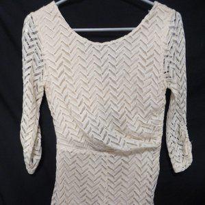ARK & CO.  small, cream, long sleeve short dress